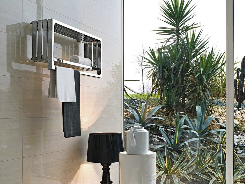 Wall-mounted glossy steel towel warmer MONTECARLO | Glossy steel towel warmer by Tubes Radiatori
