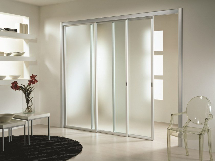 Sliding satin glass movable wall ANTHA | Satin glass movable wall by GIDEA
