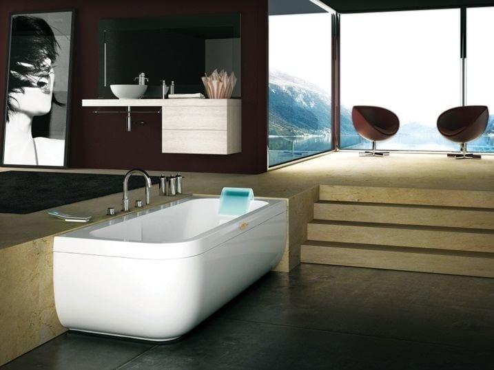 Corner whirlpool bathtub for chromotherapy AQUASOUL LOUNGE | Corner bathtub by Jacuzzi