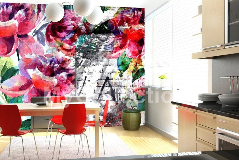 Wallpaper with floral pattern PEONIA TATTOO by MyCollection.it
