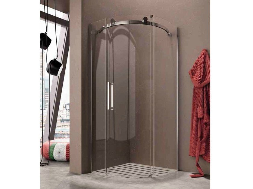 Corner semicircular shower cabin with sliding door FLUIDA FC by Glass1989