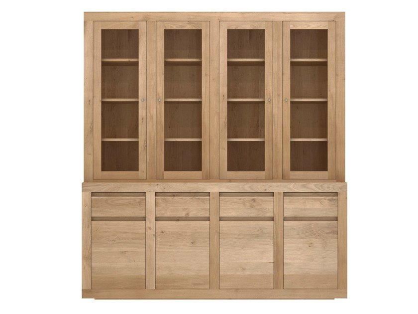 Wooden and glass highboard with doors and drawers OAK FLAT | Oak highboard by Ethnicraft