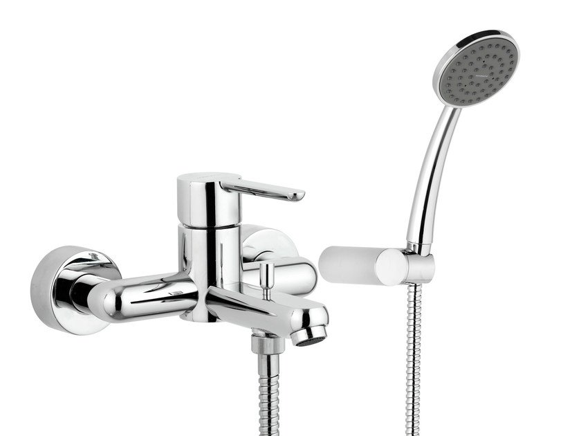 Wall-mounted single handle bathtub mixer with hand shower NOIR | Bathtub mixer by Rubinetterie Mariani