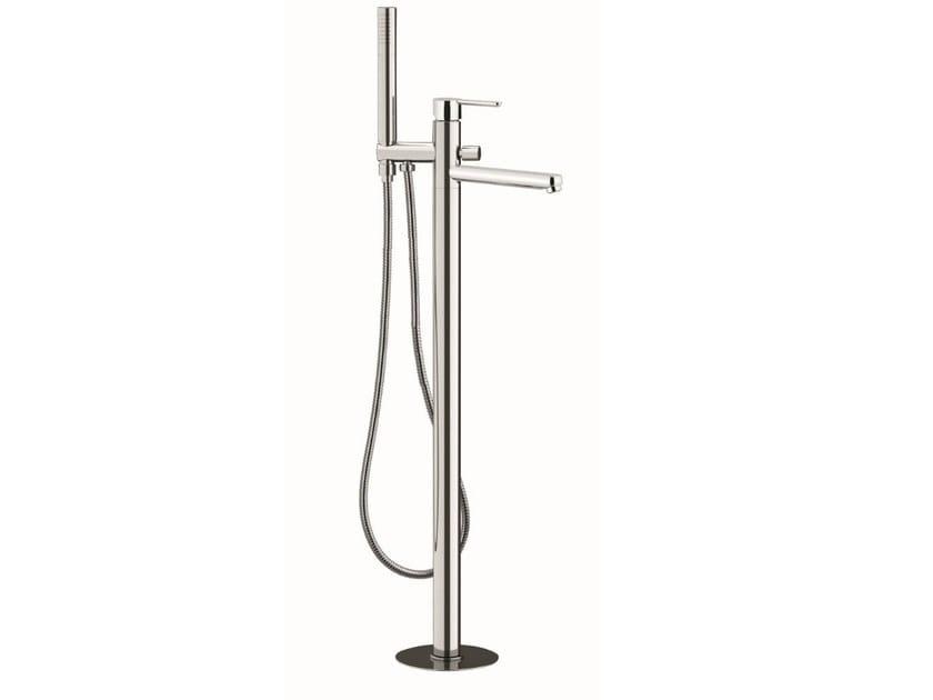 Floor standing single handle bathtub mixer with hand shower NOIR | Floor standing bathtub mixer by Rubinetterie Mariani