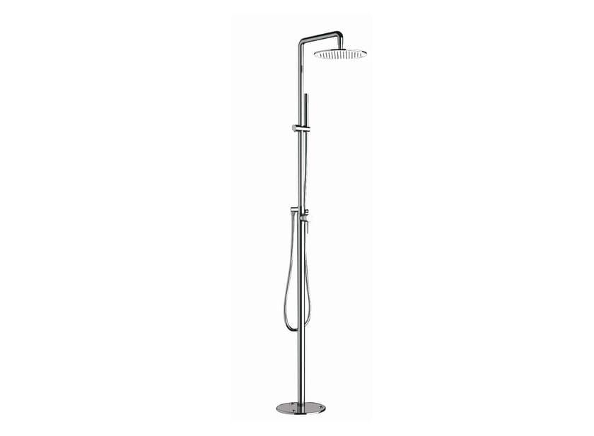 Floor standing shower panel with hand shower with overhead shower NOIR | Shower panel by Rubinetterie Mariani