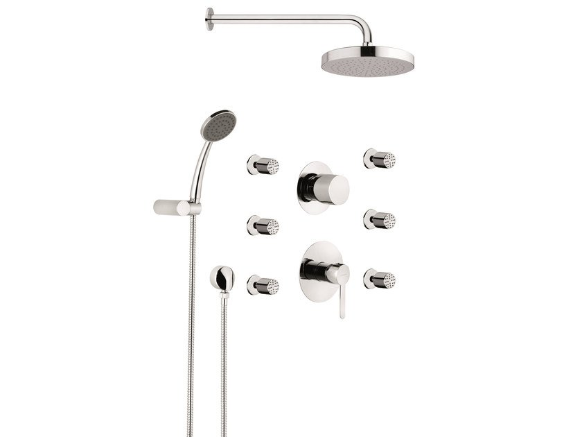 Shower set with overhead shower NOIR by Rubinetterie Mariani