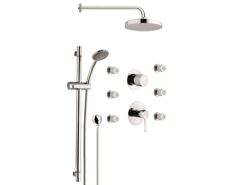 Shower set with showerhead, multijets and shower rail NOIR by Rubinetterie Mariani