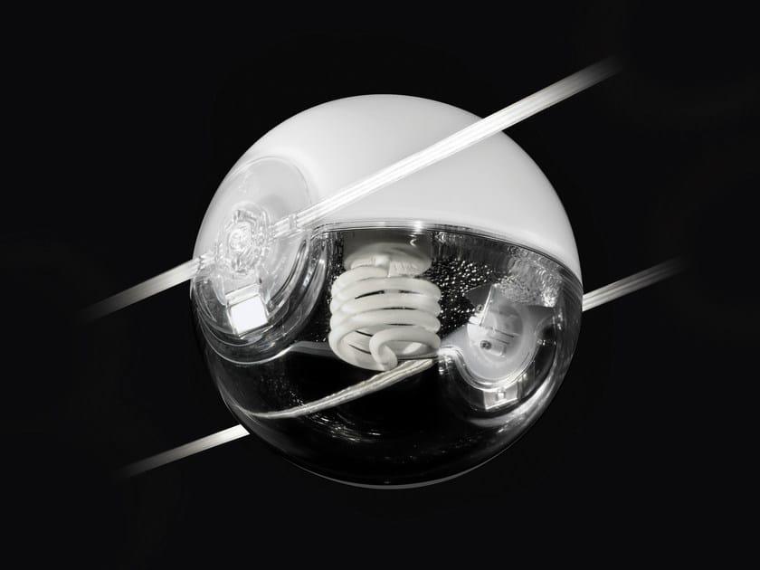 Cable-mounted glass pendant lamp TENSESTERNI SFERA CON RIFLETTORE by Cini&Nils