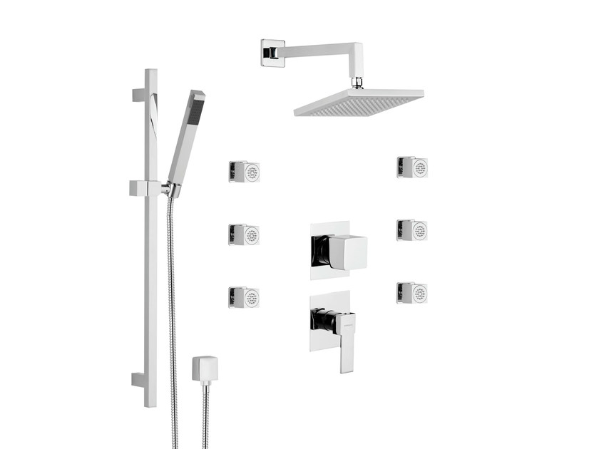 Shower mixer with diverter with hand shower with overhead shower POLAR by Rubinetterie Mariani