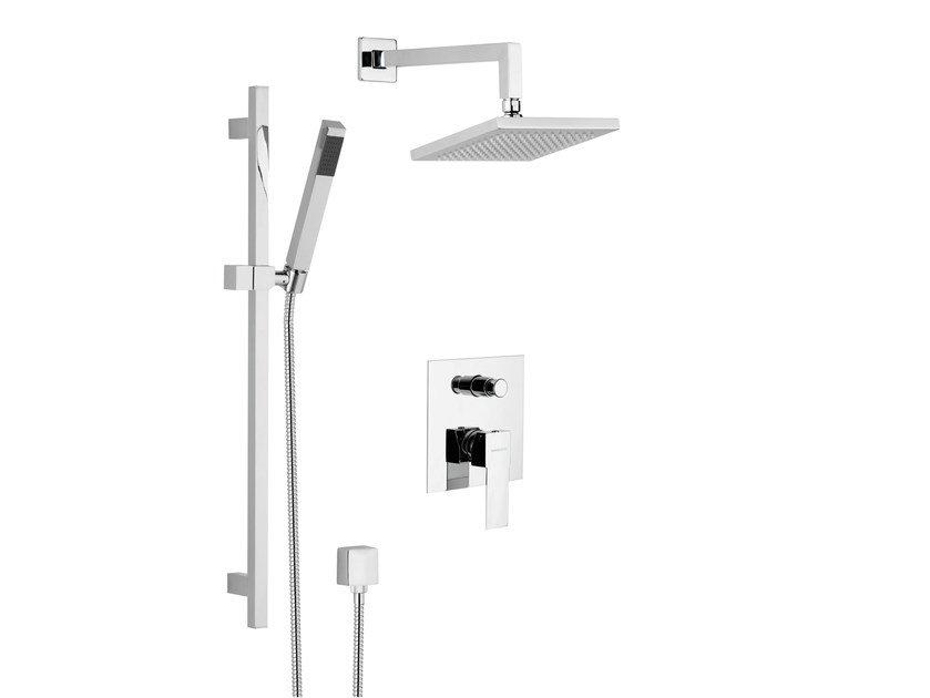 Shower wallbar with diverter with hand shower with overhead shower POLAR | Shower wallbar by Rubinetterie Mariani