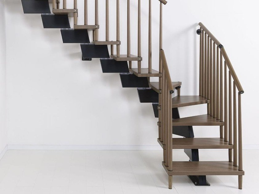 L-shaped U-shaped self supporting steel cantilevered staircase GENIUS 070   Open staircase by Fontanot
