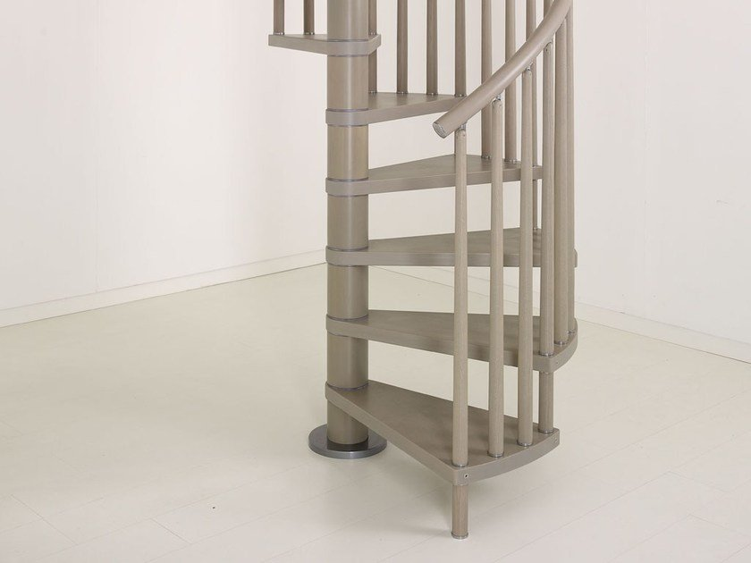 Stainless steel and wood Spiral staircase GENIUS 070 | Spiral staircase by Fontanot