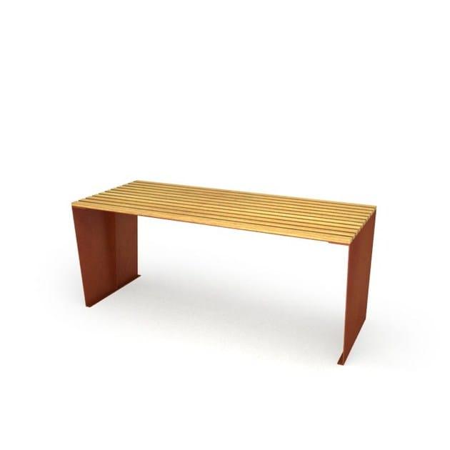 corten steel - natural wood