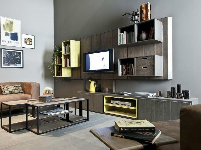 Lacquered wooden storage wall 5PUNTO7 by Shake