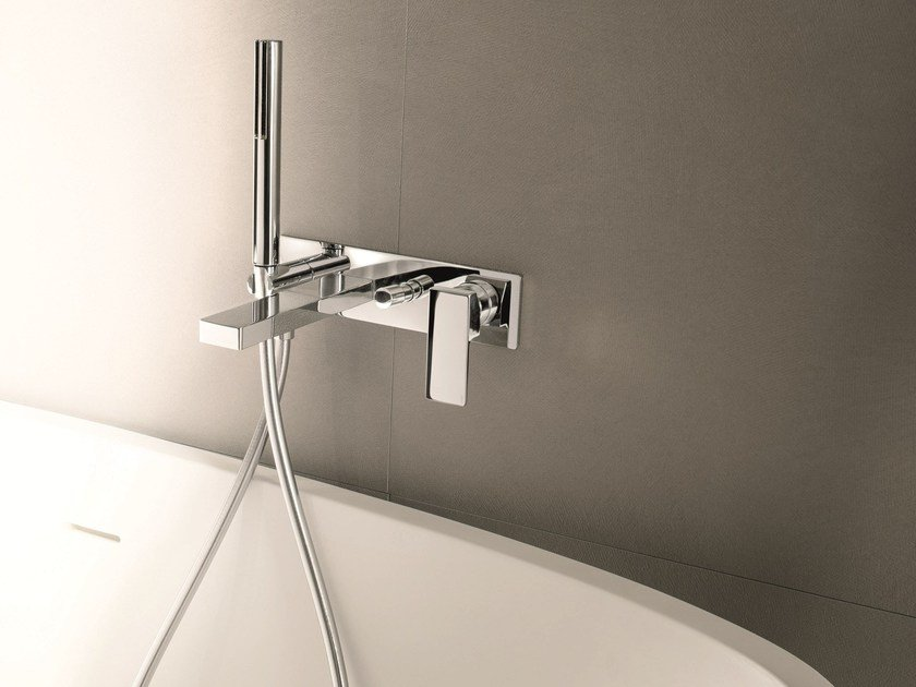 Wall-mounted bathtub mixer with hand shower MINT | Bathtub mixer by Fantini Rubinetti