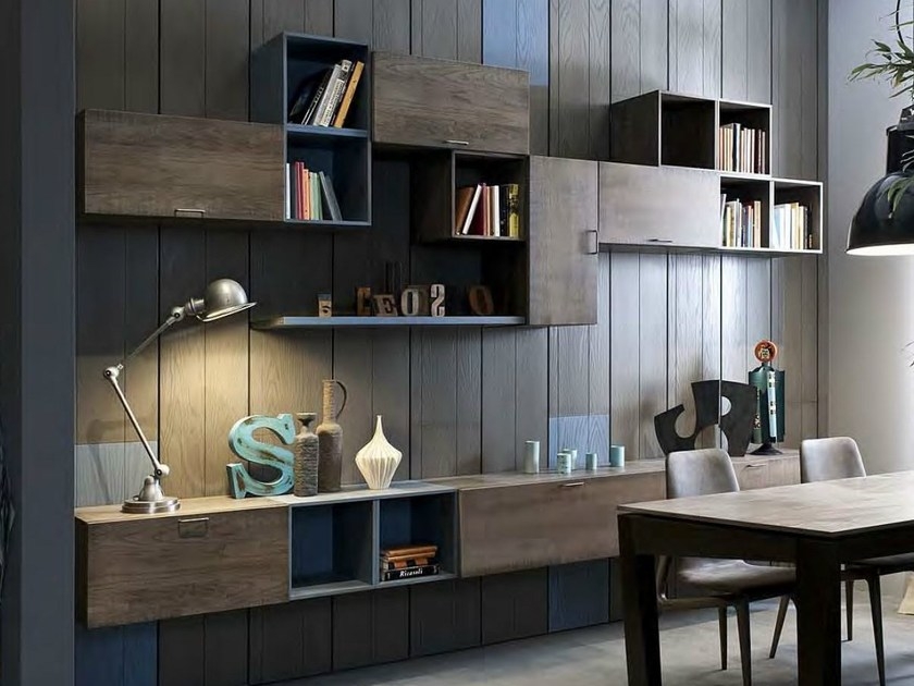 Sectional wall-mounted lacquered storage wall 5PUNTO7 | Lacquered storage wall by Shake