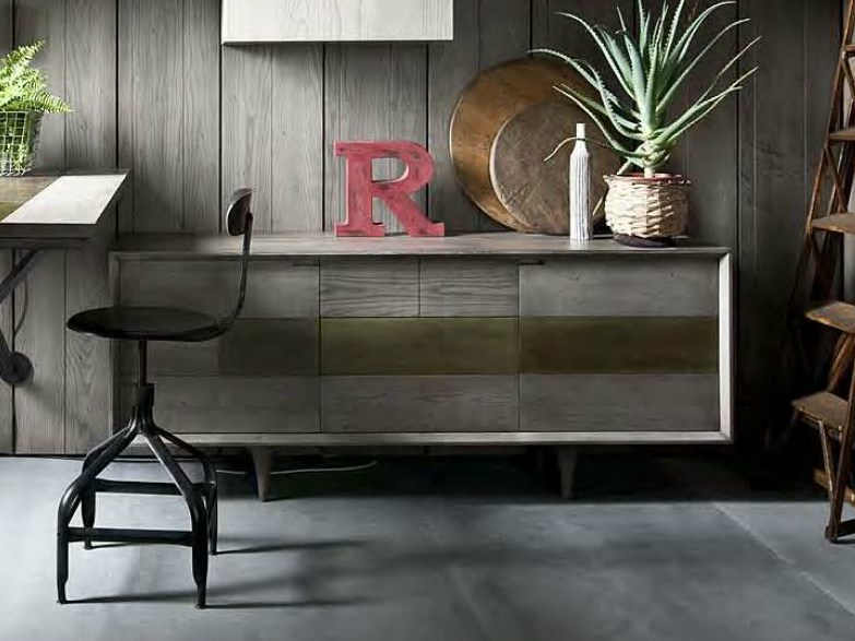 Lacquered sideboard with doors with drawers CHAGALL by Shake