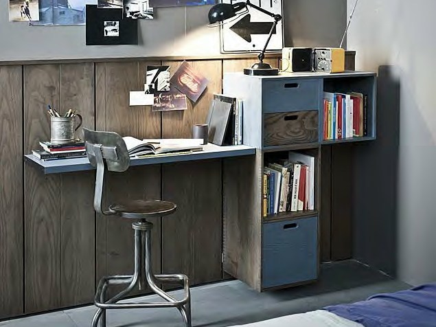 Lacquered writing desk with bookcase 5PUNTO7 | Writing desk by Shake