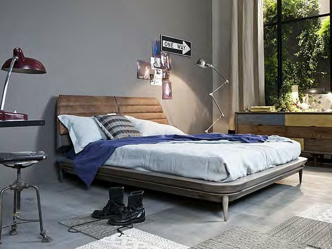 Leather double bed with upholstered headboard LEE by Shake