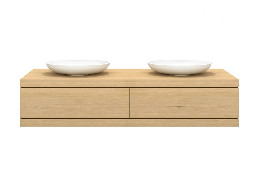 Double solid wood vanity unit with drawers OAK CADENCE | Double vanity unit by Ethnicraft