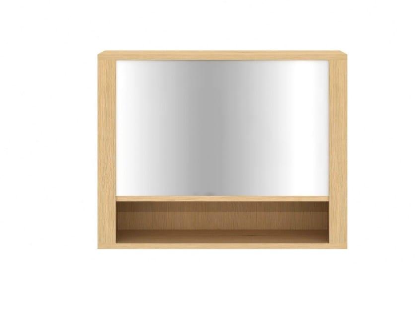 Specchio in legno massello a parete con contenitore per bagno oak