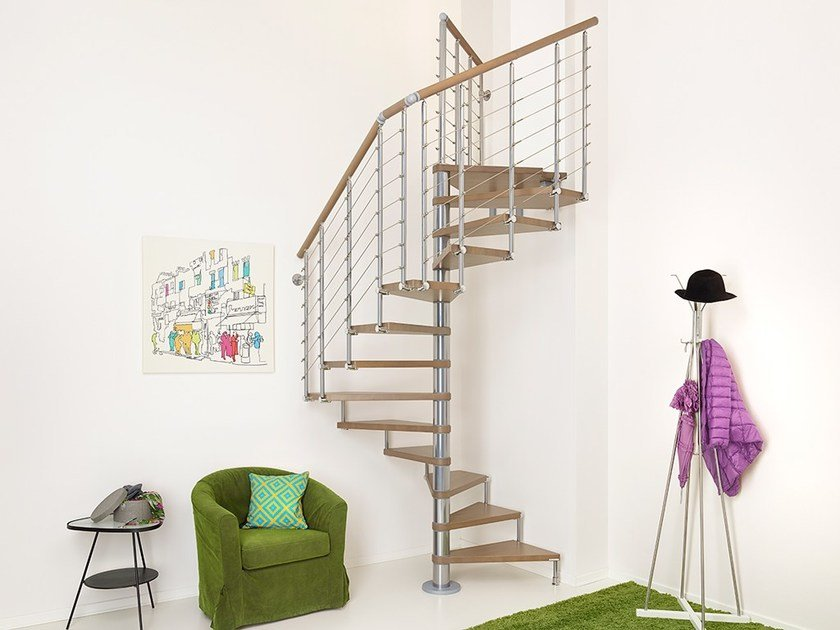 Square modular steel Spiral staircase in kit form PIXIMA CUBE TUBE by Fontanot