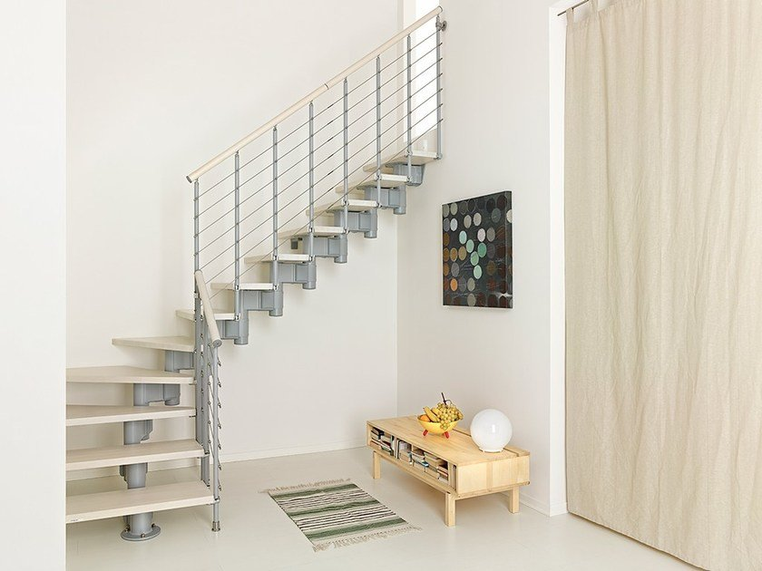 L-shaped steel and wood Open staircase PIXIMA LONG TUBE by Fontanot