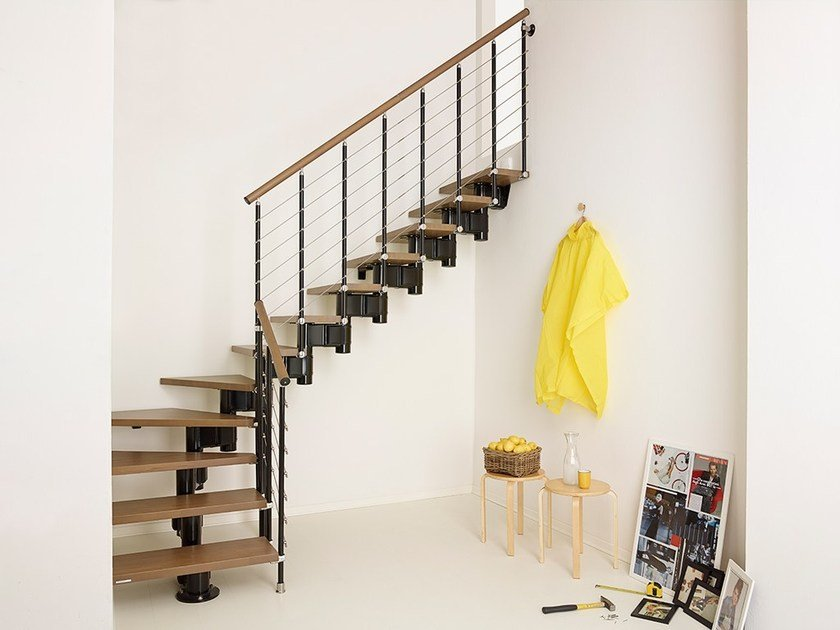 escalier ouvert quart tournant en acier et bois pixima long tube by fontanot. Black Bedroom Furniture Sets. Home Design Ideas