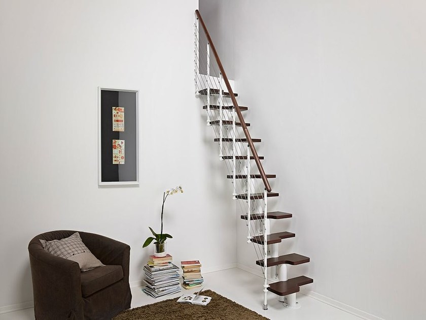 Steel and wood Mini-staircase PIXIMA MINI TUBE by Fontanot