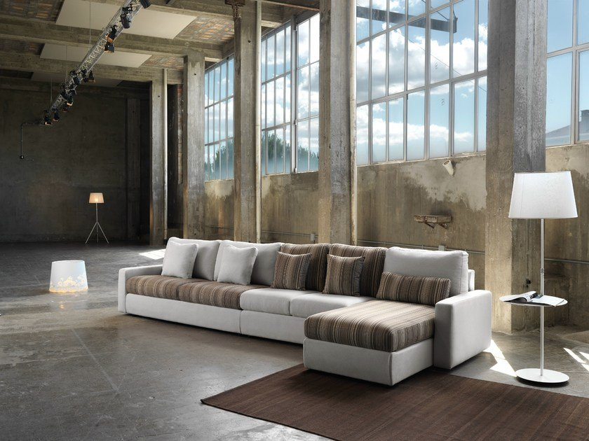 Convertible fabric sofa with removable cover LESLIE | Sectional sofa by Domingo Salotti
