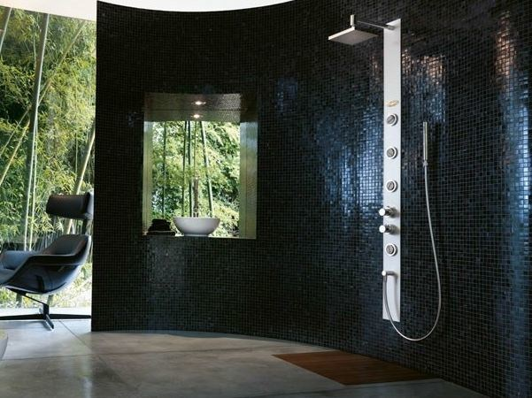 Multifunction hydromassage shower panel with hand shower ES BUILT-IN by Jacuzzi
