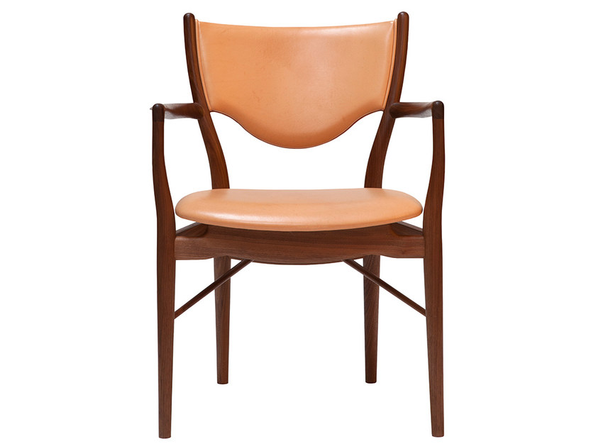 Upholstered leather chair with armrests 46   Chair by Onecollection
