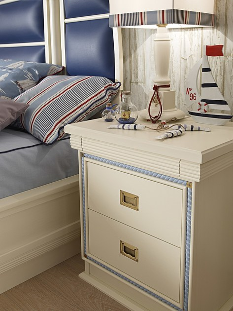 Lacquered kids' bedside table with drawers CORDAGE   Kids' bedside table by Caroti