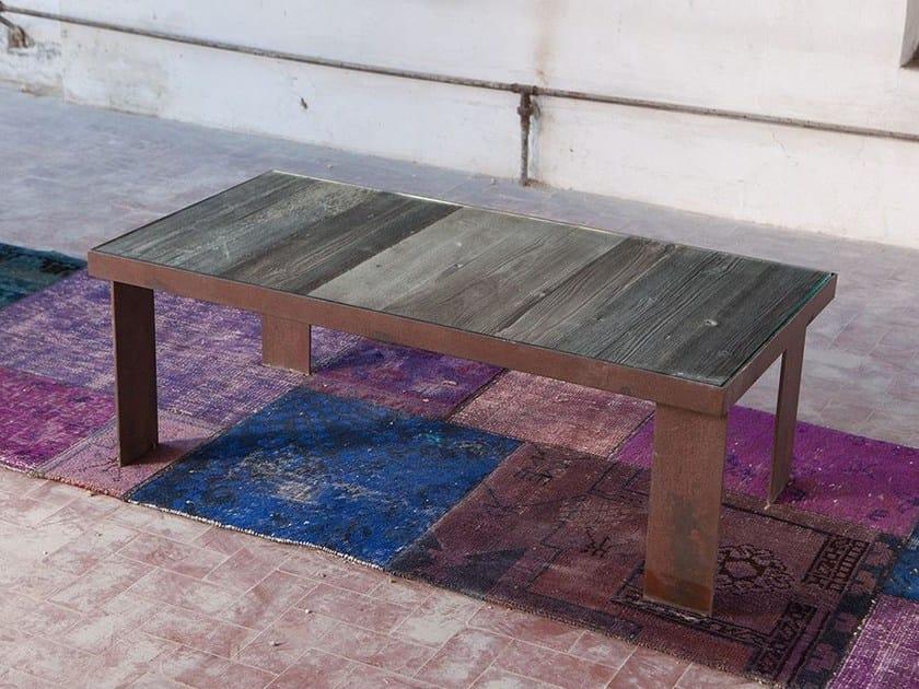 Rectangular reclaimed wood coffee table KORZUN by Domingo Salotti