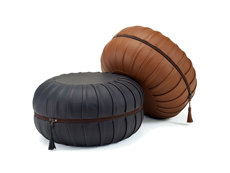 Upholstered leather pouf with removable lining ANNA by Freifrau