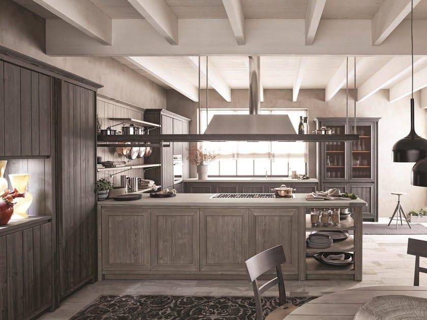 Spruce kitchen with peninsula MAESTRALE 02 by Scandola Mobili