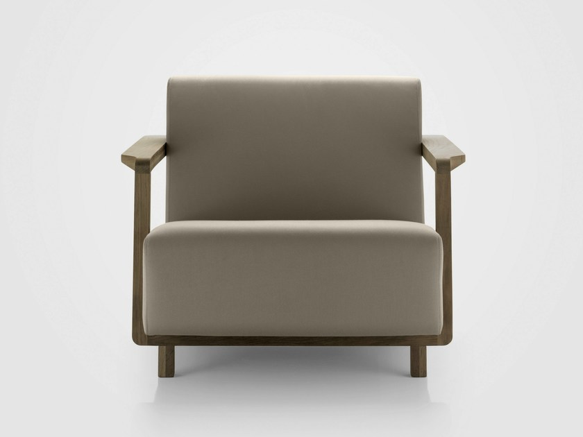 Technical fabric armchair with armrests OSSAU | Armchair by Bosc
