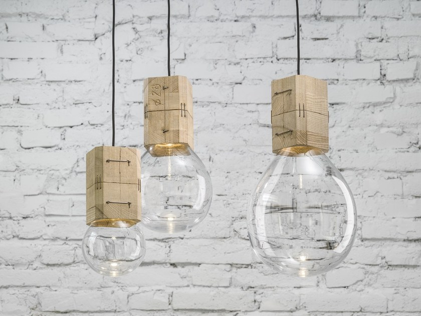 Handmade blown glass pendant lamp MOULDS by Lasvit