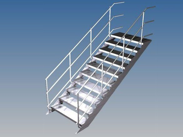 Modular galvanized steel Open staircase EASY STEP by SVELT