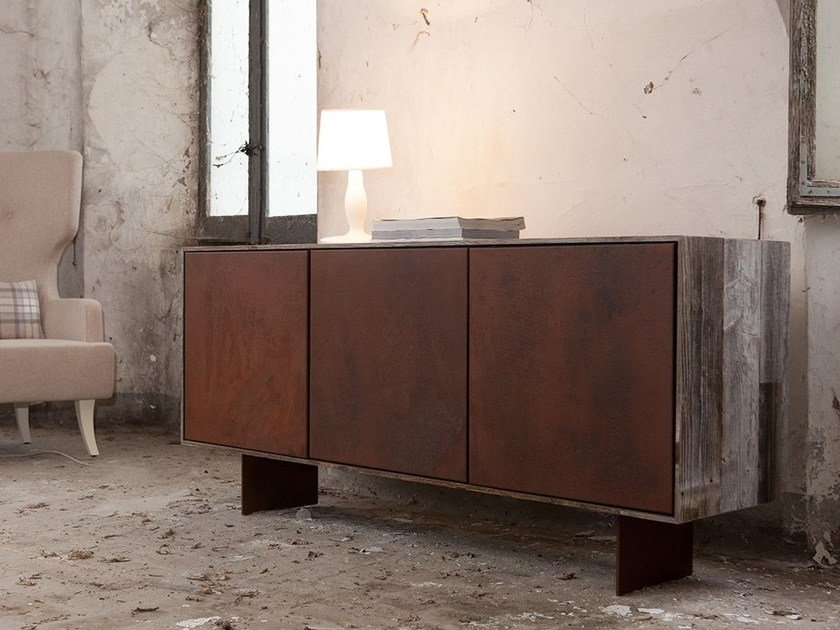 Burnished iron sideboard with doors KIM by Domingo Salotti
