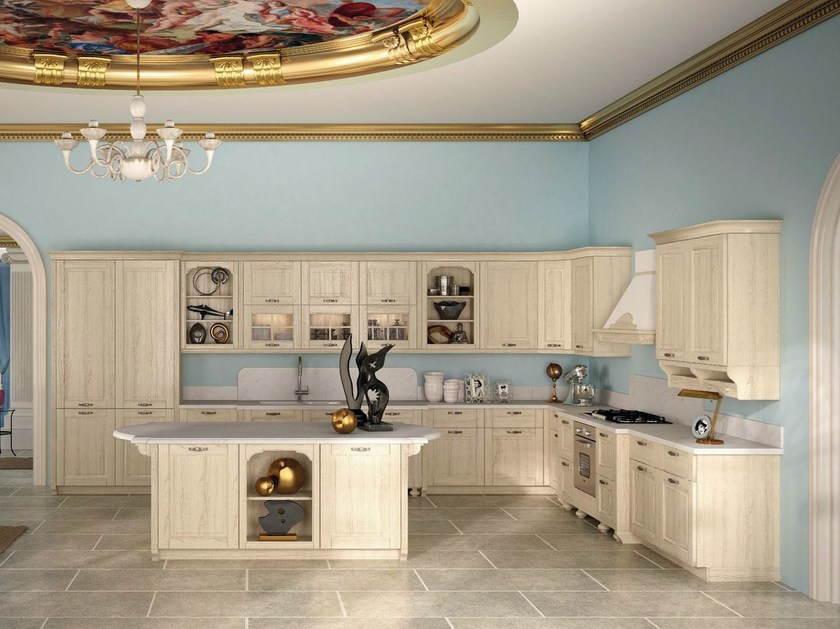 Solid wood fitted kitchen LARI by Del Tongo