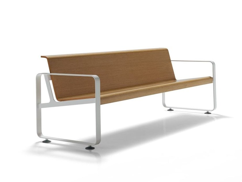 Wooden bench seating with back NEOS by Inclass Mobles