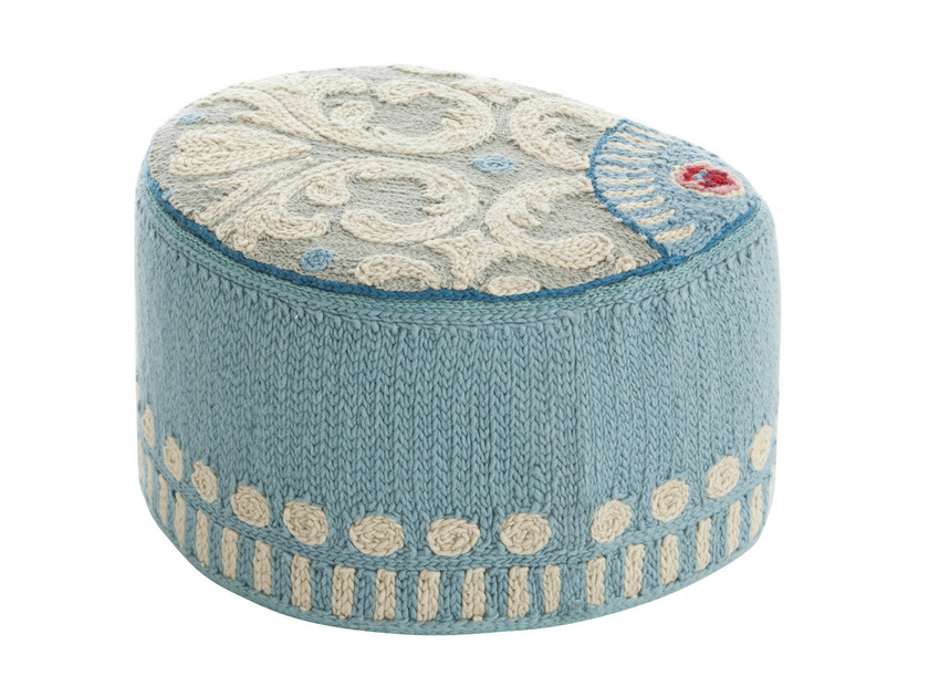 Upholstered wool pouf GOYESCAS | Pouf by GAN