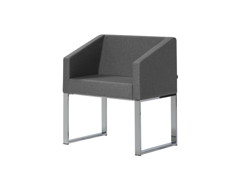 Sled base upholstered easy chair with armrests CUBIK   Sled base easy chair by Inclass Mobles
