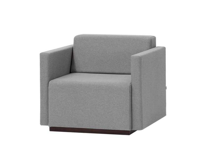 Upholstered fabric armchair with armrests PAU | Upholstered armchair by Inclass Mobles