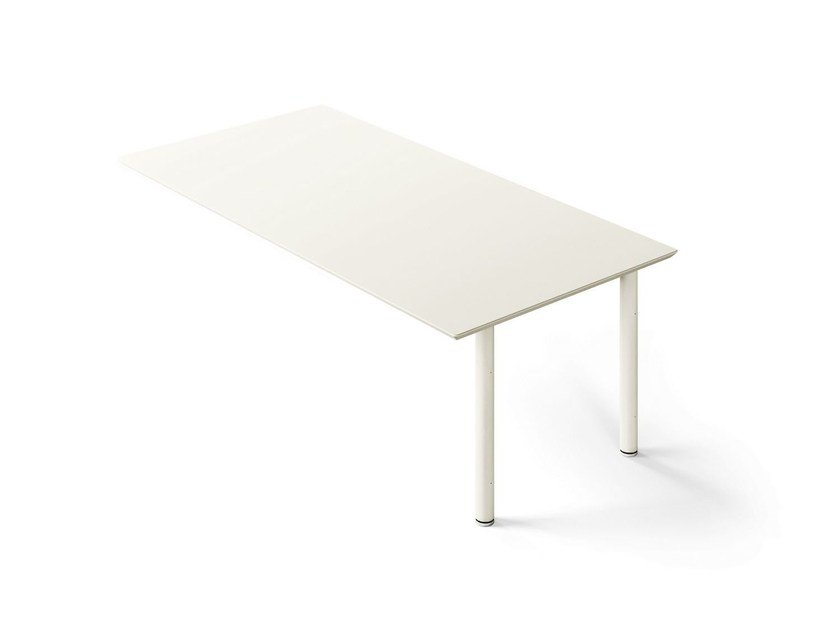 Wall-mounted lacquered rectangular office desk MÈTA | Lacquered office desk by FANTONI