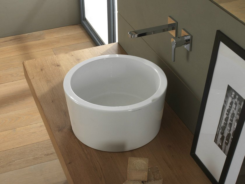 Countertop round ceramic washbasin BUCKET   Washbasin by Scarabeo Ceramiche