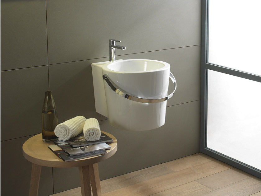 Wall-mounted ceramic washbasin BUCKET | Wall-mounted washbasin by Scarabeo Ceramiche
