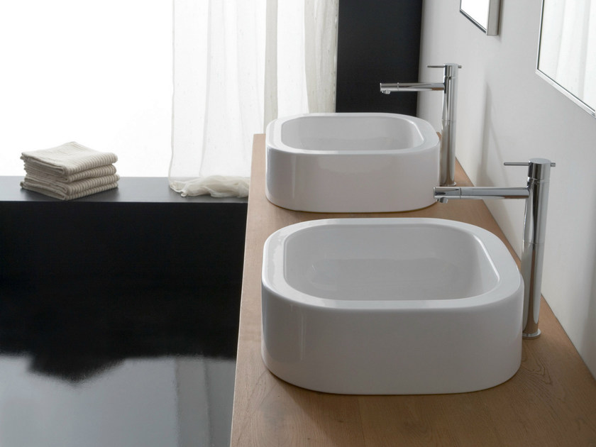 Countertop square ceramic washbasin NEXT 40 by Scarabeo Ceramiche