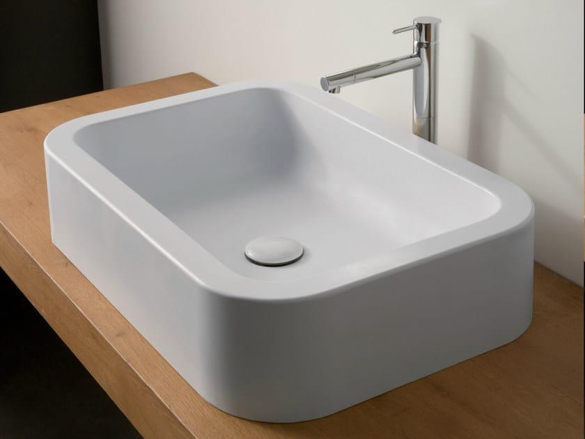 Countertop rectangular ceramic washbasin NEXT 60 by Scarabeo Ceramiche